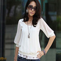 New Fashion Hot selling Middle Sleeve Summer Sexy Round collar women Half Chiffon Casual Cocktail Tops Shirt Free shipping