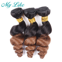 My Like Pre colored Ombre Human Hair Weave Loose Wave Bundles Ombre 1b/30 Peruvian Hair Extensions 100% Non remy Hair Bundles
