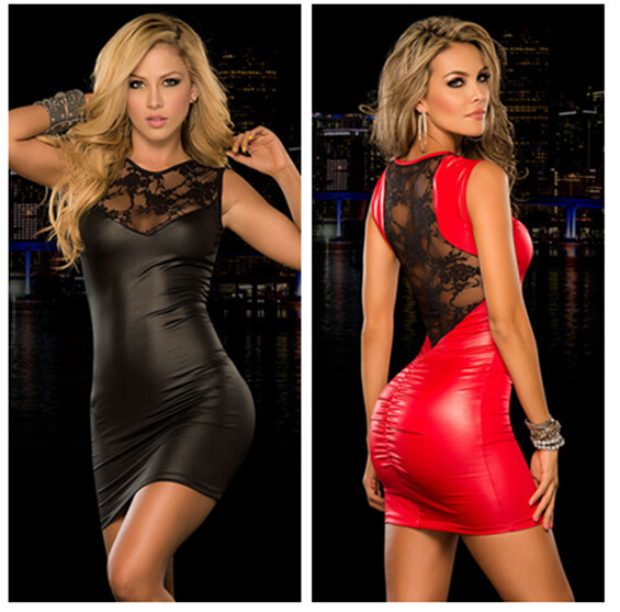 Buy XXL New Women Sexy Lingerie Latex PU Leather Dresses Lace Patchwork Sexy Bodycon Costume Erotic Backless Hot Fitness Bodysuit
