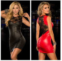 XXL New Arrival Women Sexy Lingerie Latex PU Leather Dresses Lace Sexy Bodycon Costume Erotic Backless