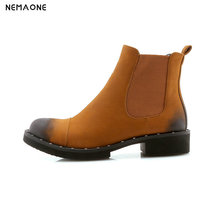 NEMAONE Women Ankle Boots Low Heel Round Toe women shoes New Western Winter Boots black green yellow large size 43