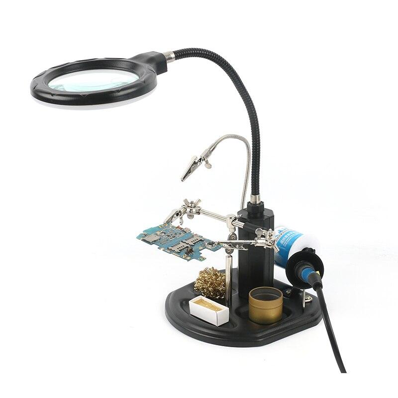À souder Auxiliaire Clip Coup de Main Loupe Loupe avec 2.5X16 LED Lumière Pour Le BRICOLAGE PCB À Souder Dessouder Retravailler