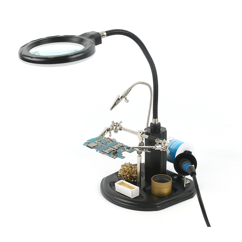 Soldering Auxiliary Clip Helping Hand Magnifying Glass Magnifier with 2.5X 16 LED Light For DIY PCB Soldering Desoldering Rework