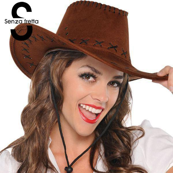 940e2792a21 Fancy Cowboy Hats Men Women Vintage Wide Brim Headwear Cap Western Cowboy  Hat Fashion Jazz Cap