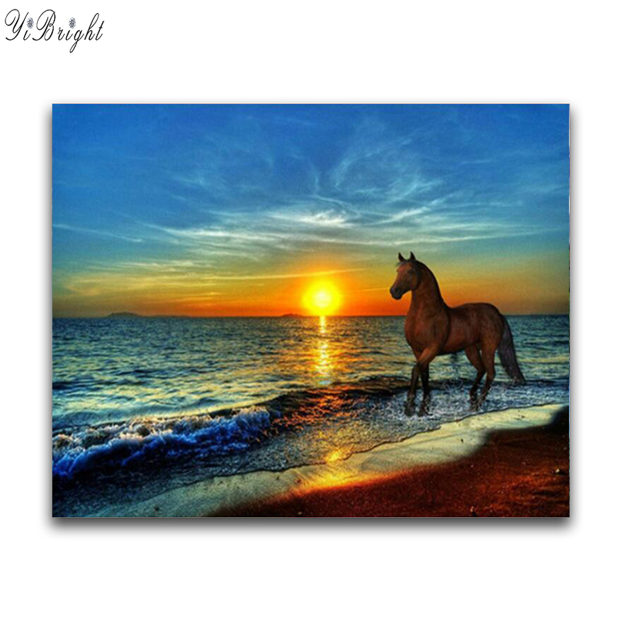 Full Square/Round Drill 5D DIY Diamond Painting sunset horse 3D Embroidery Cross Stitch Mosaic Rhinestone Home Decor Gift