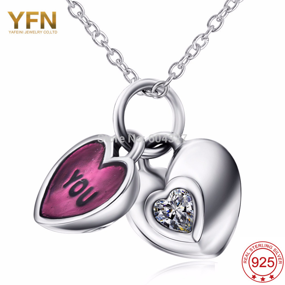 YAFEINI New Fashion jewelry womens accessories necklace 925 Sterling Silver Heart Pendant Necklace GNX0603