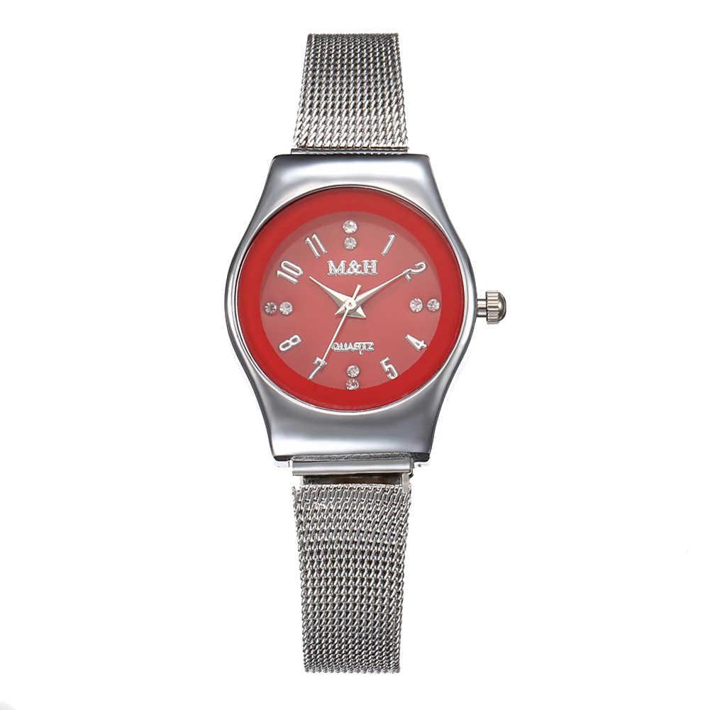 2019 арабский цифра со стразами аналоговые с круглым циферблатом сетки группа для женщин кварцевые наручные часы