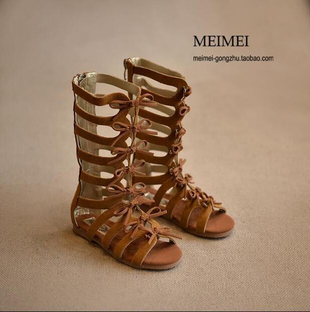 2017 botas de verão de alta-top da moda meninas sandálias crianças sandálias gladiador romano sandálias meninas da criança do bebê de alta qualidade shoes