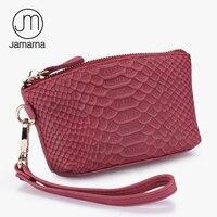 Jamarna Phụ Nữ Wallet Genuine Leather Rắn Grain Pattern Thẻ Túi Mỹ Phẩm ID Nữ Giữ Ví Đồng Xu Ví Đỏ Brand New