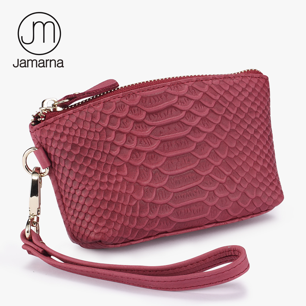 Jamarna Women Wallet Genuine Leather Snake Grain Pattern Cosmetic Bag Card ID Holder Ladies Wallet Coin Purse Red Brand New simline fashion genuine leather real cowhide women lady short slim wallet wallets purse card holder zipper coin pocket ladies
