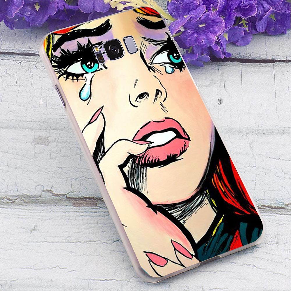 Crying Comic Girl Hard Case for SamsungGalaxy A8 Plus 2018 Protective Phone Cover for Samsung Galaxy A40 A50 A70 A3 A5 Back Skin in Fitted Cases from Cellphones Telecommunications