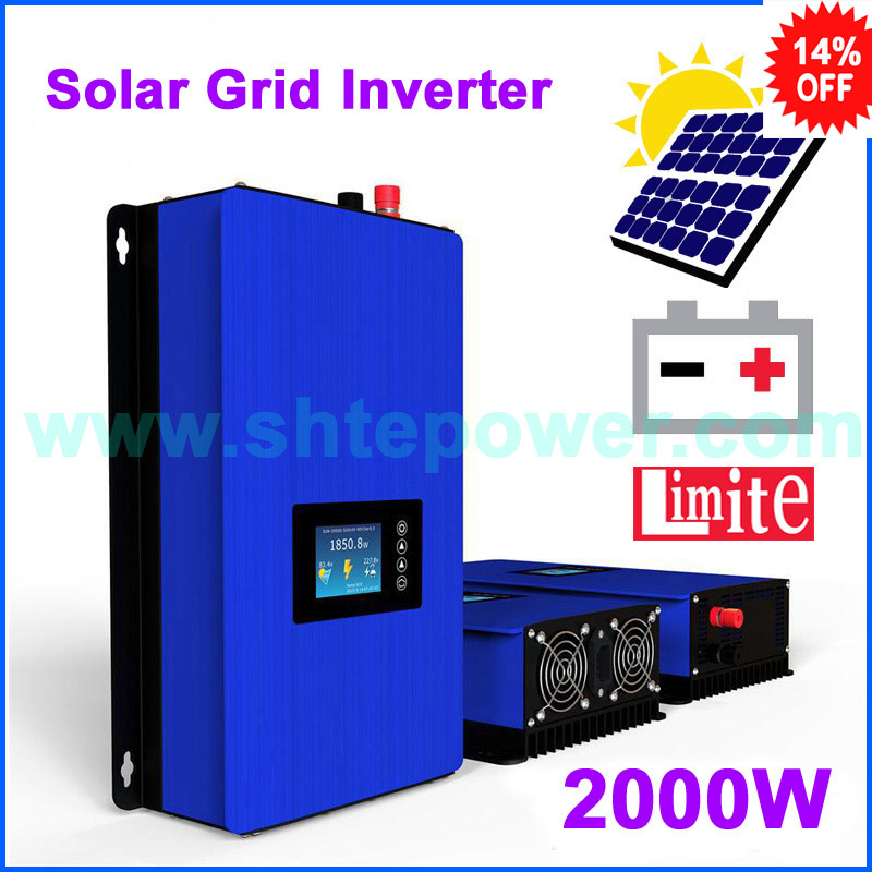 MPPT 2000w grid tie inverter with limiter free shipping DC45-90v input AC output with battery discharge function 220v 230v 240v output solar power inverter on grid tie dc 45 90v input with mppt function 2000w