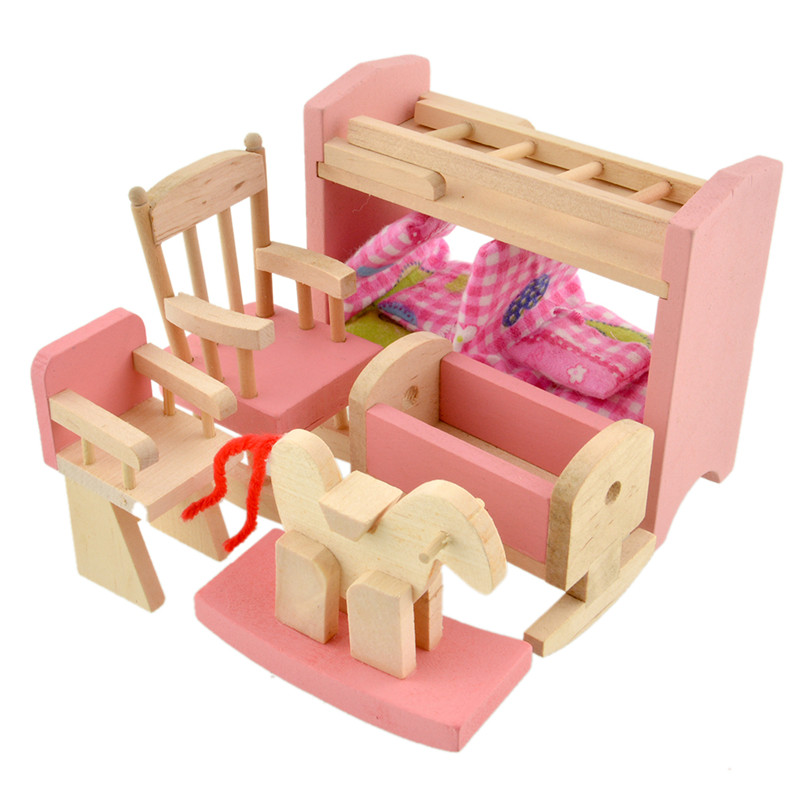 Wooden Doll Bunk <font><b>Bed</b></font> Sets Furniture Dollhouse Miniature for Kids Child Play Toy Educational Toy Wooden Toys Baby Birthday Gifts image