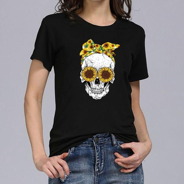 Women's Harajuku T shirt 2019 Short Sleeve Plus Size Tops Female Skull Printed Sunflower Tee Shirt Chemise Femme Dropshipping c