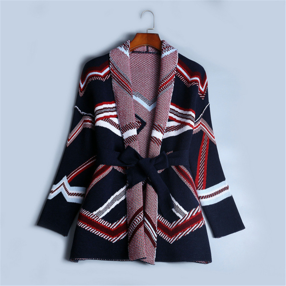Top Quality Cardigan Women 2018 New Winter Loose Coat Runway Sash Jacket Knit Top Female Fashion Pocket Jumper Oversize Coat