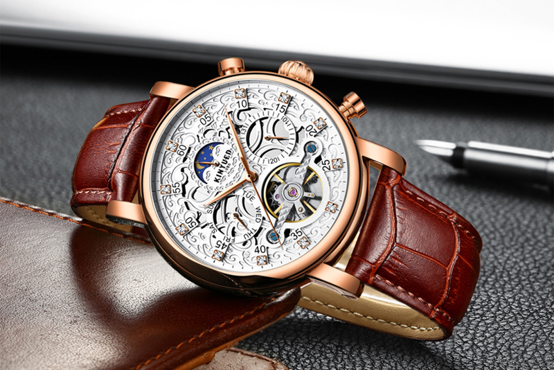 HTB17R.dXELrK1Rjy1zbq6AenFXaS KINYUED Skeleton Automatic Watch Men Sun Moon Phase Waterproof Mens Tourbillon Mechanical Watches Top Brand Luxury Wristwatches
