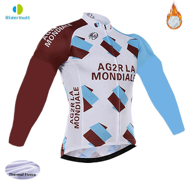 Winter thermal fleece 2018 Ag2r cycling long sleeve Jacket clothing ropa  ciclismo bicycle mtb cycling jersey sport wear 708b83a21