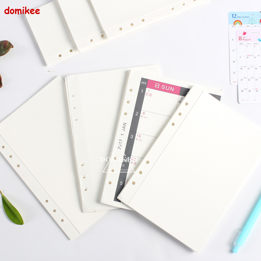 Original creative 3 folding replacement inner paper core for 6 holes spiral notebooks,4 kinds:grid,dots,blank,monthly planner