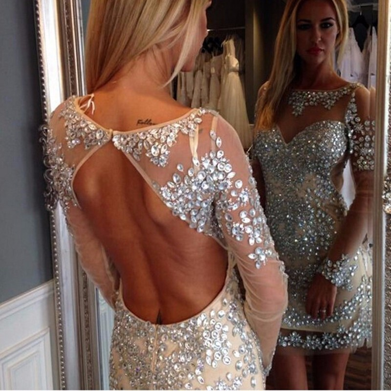 Hot Sale Heavy Crystal Tulle Straight Cocktail Dresses With Long Sleeves Sexy Open Back Knee Length