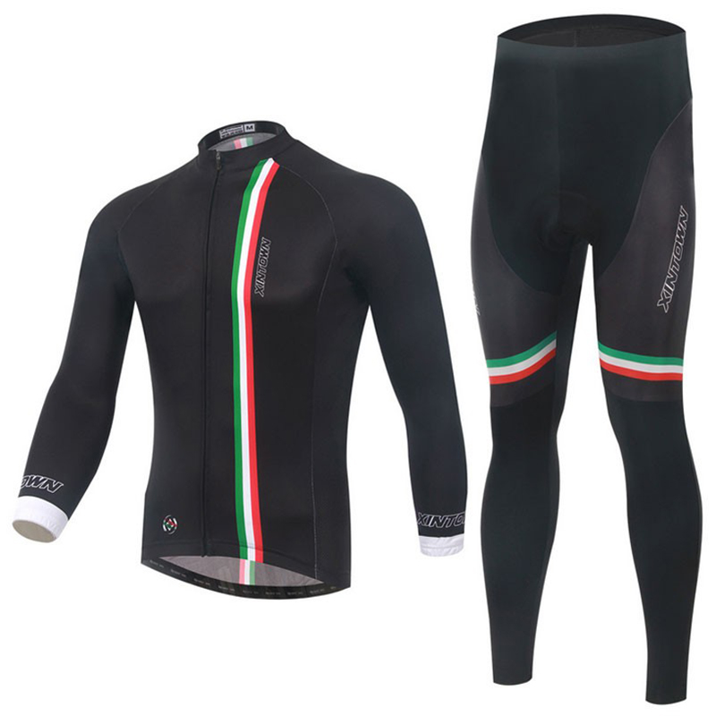 US $41.76 5% OFF|Hot !!! Men's Long Sleeve Jersey Pants Sets Black Cycling Clothing Bike Bicycle Long Sleeve Jersey Top Springautumnwinter in