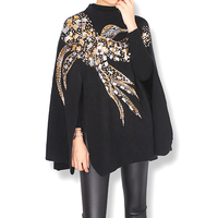 2017 winter knitted Cashmere Cloak Coat birds eagle pattern handmade beading sequins embroidered Women Shwal Batwing Sleeve Coat