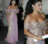 Lebanon Haifa Wehbe Lavender Formal Gowns Luxury Beaded Tulle Lace Appliques Evening Dress Vestido De Festa