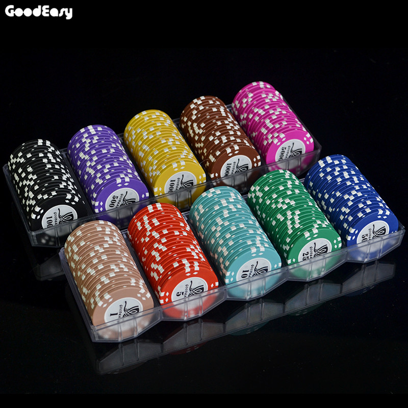 100PCS/SET 15.5g AOM Poker Chips Sets Clay Casino Chips Texas Holdem Cheap Poker Chip Set With Acrylic Tray High Quality