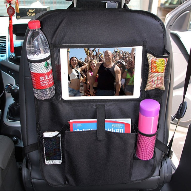 Car Styling Backseat Bag Car Organizer Multi-Pocket Storage Bag Cup Holder Touch Screen Tablet Stand iPad Holder Car Phone Pouch