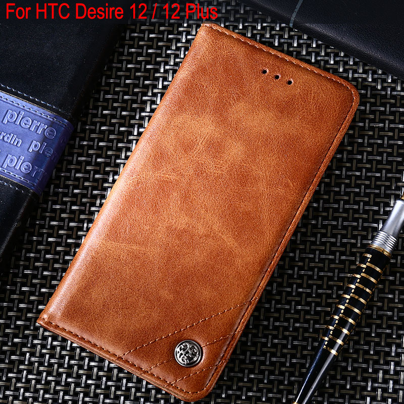 For HTC Desire 12 case Luxury Leather Flip cover with Stand Card Slot phone Cases for htc Desire 12 + plus funda Without magnets