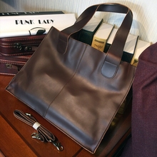 ETONWEAG New 2016 men famous brands Italian leather brown shopping bag vintage tote bags organizer multi-functional handbags