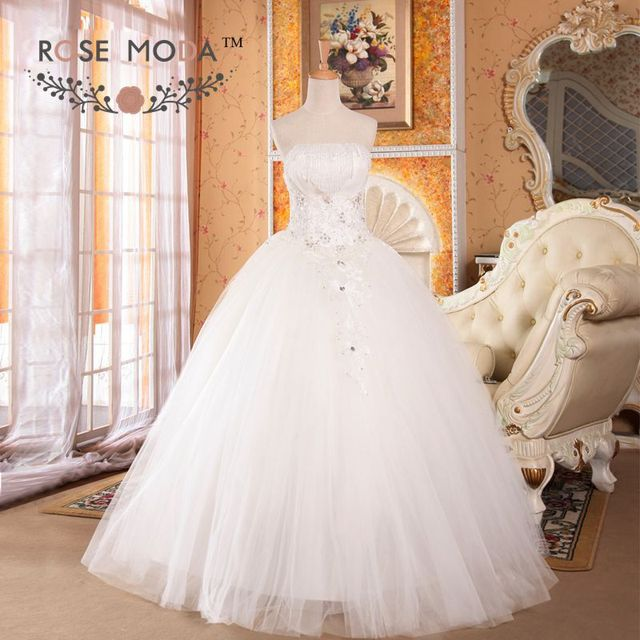 Strapless Tulle Ball Gown Draping Beadings Puffy Wedding Dress ...