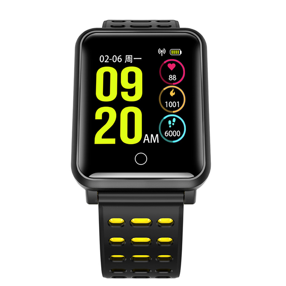 Mode 3 Couleur Orange Noir Blanc Montre Smart Watch pour Hommes Sport Bande de Silicone Étanche Montres Appel Rappel Calories Intelligent Horloge