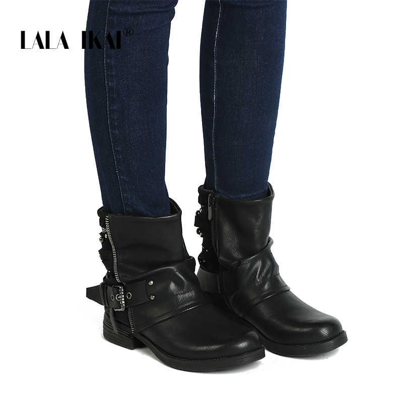 LALA IKAI femmes PU cuir Zipper bottines boucle Patchwork daim peluche talon Med bottes occidentales perles femmes chaussures 100A2158-49