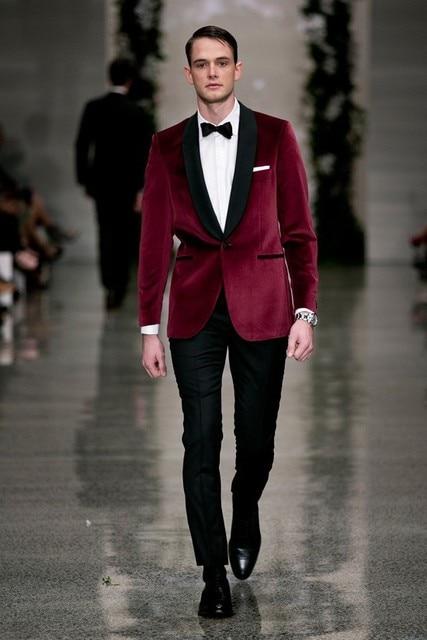 2016 Runway Fashion Burgundy Shawl Lapel Velvet Wedding Tuxedos Groom Wear 3 Pieces Slim Fit Men