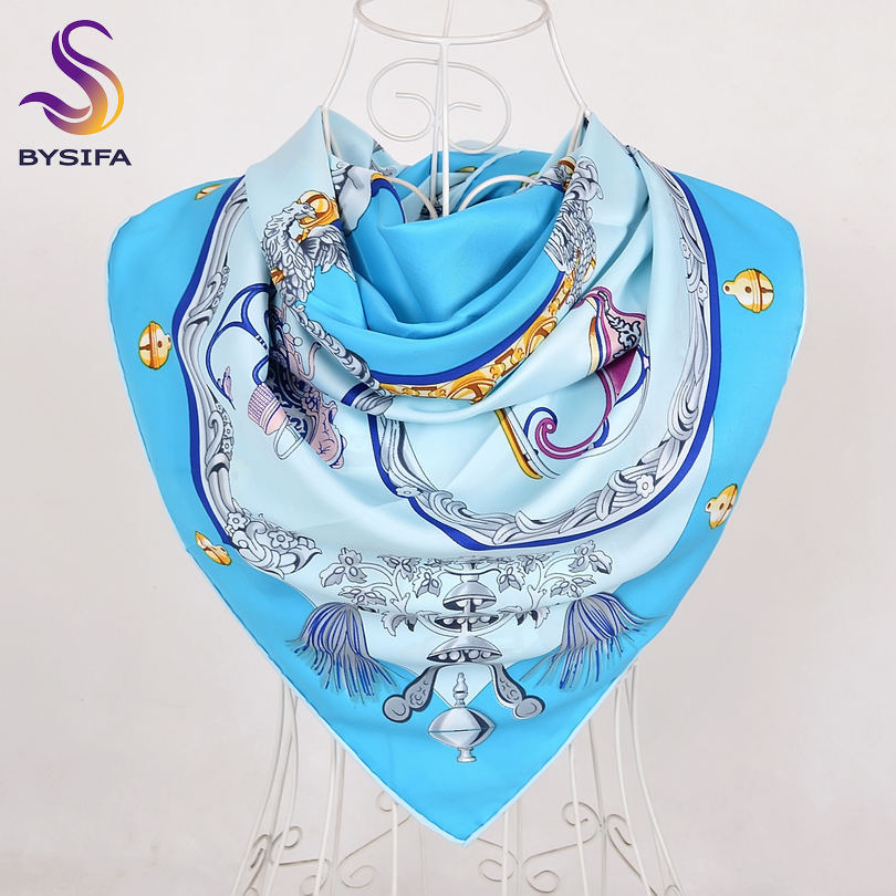 [BYSIFA] Spring Autumn Sky Blue   Scarf   Shawl Women Europe America Style Large Square   Scarves     Wraps   New Muslim Head   Scarf   Cape