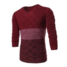 2016 Best Goods Male Fashion Sweater Men Style Sale Spell V-neck Cultivating Winter High Quality Hot Sale Polyester Causal Slim