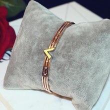 Хрустальные браслеты с буквами v лучшие из розового золота цирконом