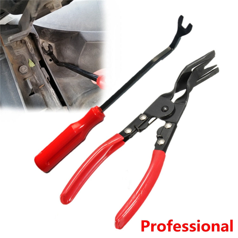 2pcs set car interior door panel trim clip removal plier upholstery remover pry bar tool car. Black Bedroom Furniture Sets. Home Design Ideas