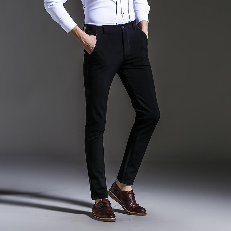 Left ROM 2019 New Men 39 s Fashion Boutique Pure Color Slim Leisure Business Suit Pants Male Black Blue Casual Pants Trousers in Casual Pants from Men 39 s Clothing