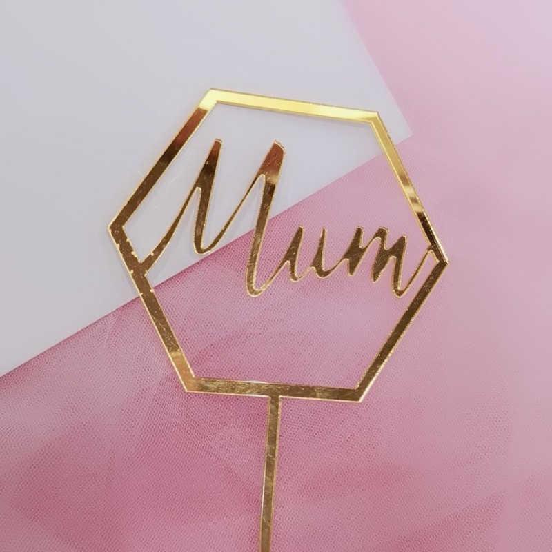 1 adet gül altın kalp kek Top bayrağı altın geometrik şekil kek Toppers dekorasyon anneler günü Cupcake için hediyeler anne doğum günü