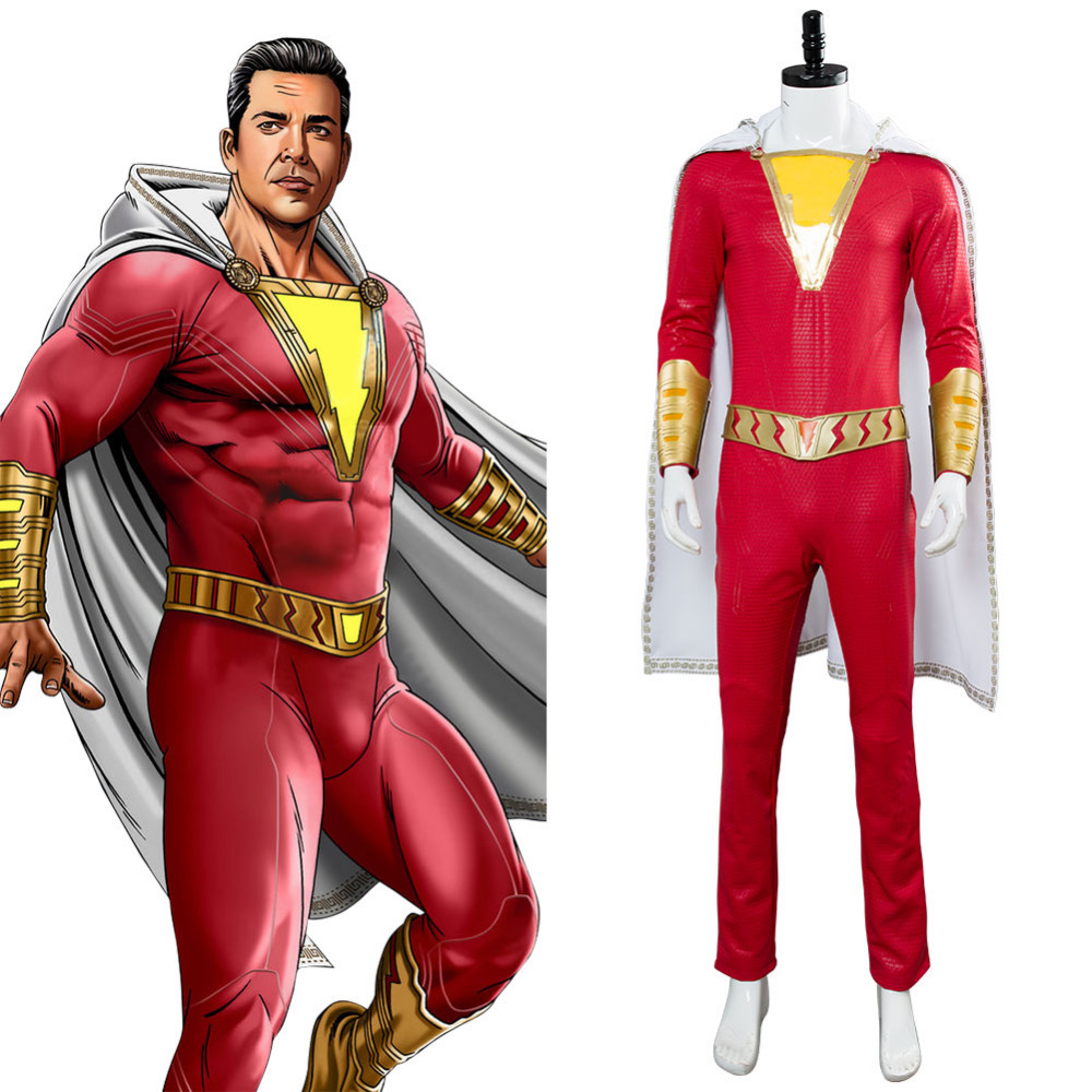 2019 Movie Shazam Cosplay Costume Billy Batson Jumpsuit Outfit Cosplay Costume Cape Halloween Carnival Costume