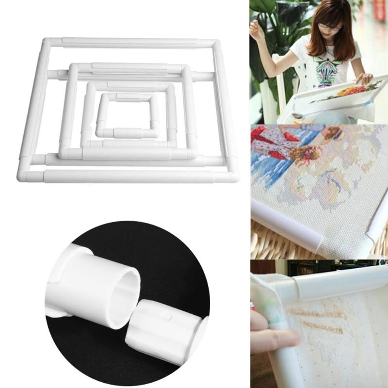 4 Size Plastic Embroidery Frame Hoop Square Shape DIY Cross Stitch Craft Needlework Sewing Hoop Embroidery Tools