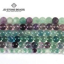 10 цветов, натуральные разноцветные флюоритовые бусины, 4, 6, 8, 10, 12 мм, размер на выбор, высококачественные бусины, ледяной флюорит, драгоценный камень для изготовления ювелирных изделий
