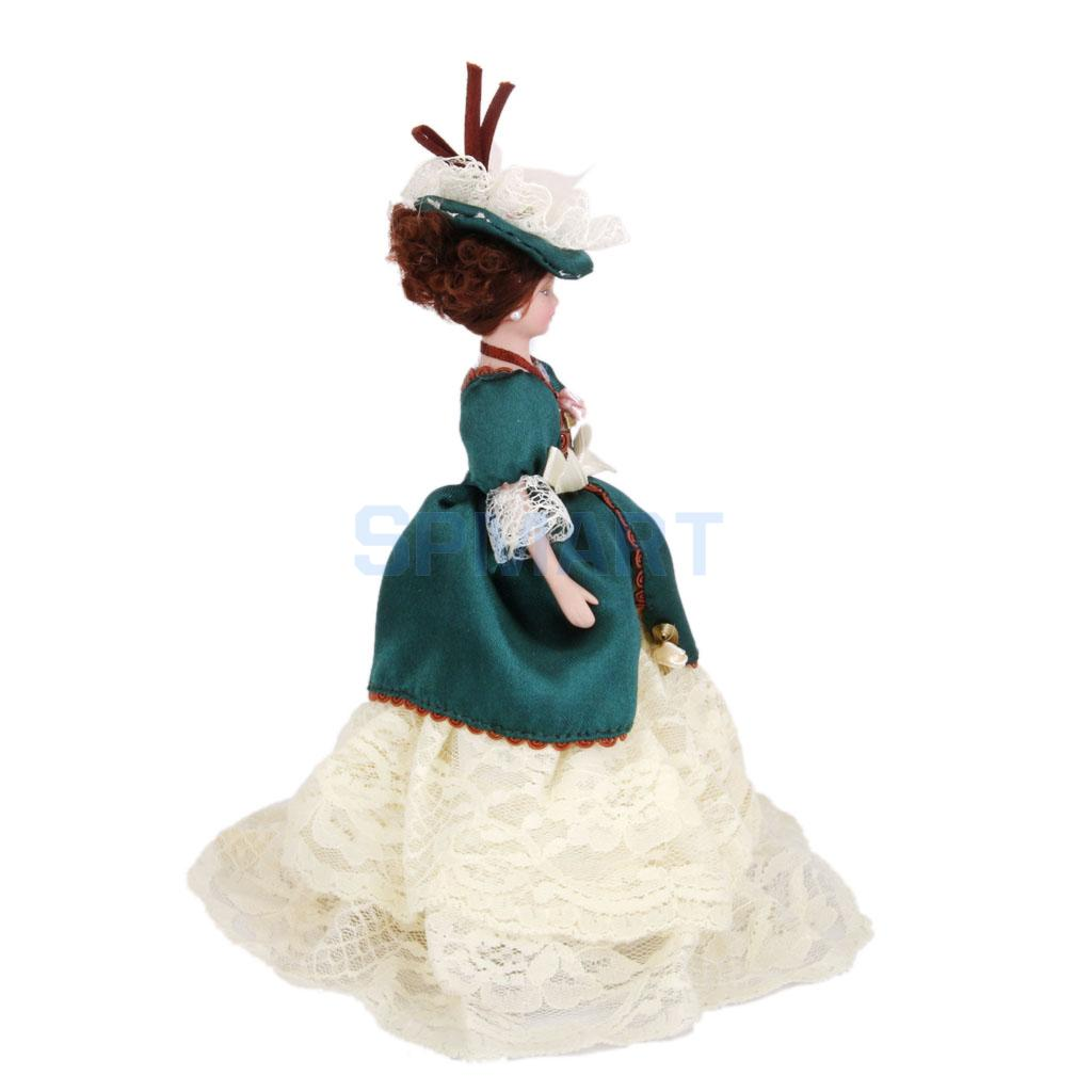 Dollhouse Miniature Porcelain Dolls Victorian Lady in Green Dress with Stand