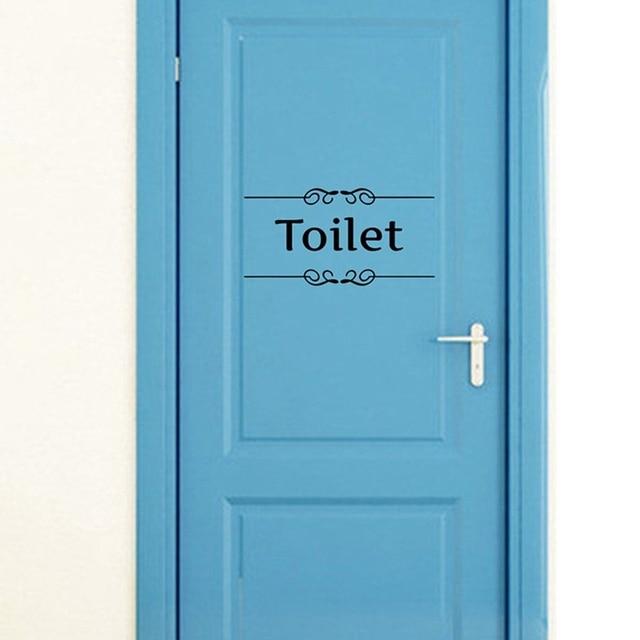 Attractive Creative Bathroom And Toilet Door Vintage Vinyl Wall Sticker Entrance Sign  Wall Art Quote Decals Home