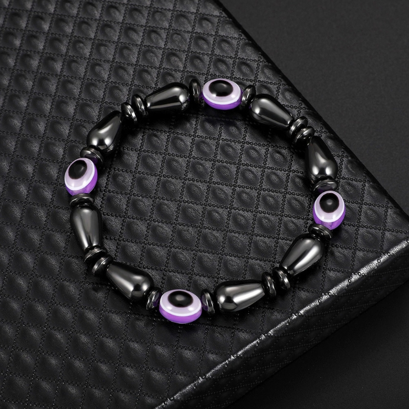 NEW Unisex Cool Magnetic Bracelet Evil Eye Hematite Stone Therapy Health Care Bangle Magnet Men Women Elegant Jewelry