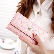 купить Womens Wallets Purses Plaid PU Leather Long Wallet Hasp Phone Bag Money Coin Pocket Card Holder Female Wallets Purse carteira дешево
