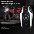 2 Two Way Motorcycle Alarm System Scooter Anti-theft Burglary Alarm Remote Engine Start Stop Remote Locating Emgerency Disarm