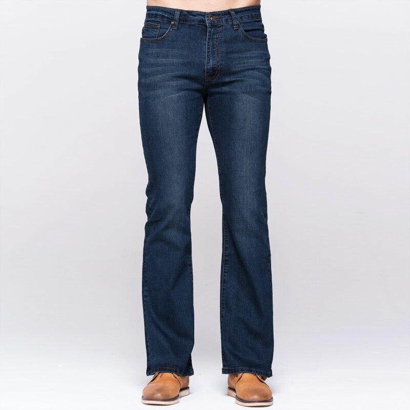 GRG Mens Slim Boot Cut Jeans Classic Stretch Denim Slightly Flare Deep Blue Jeans Fashion Stretch Trousers