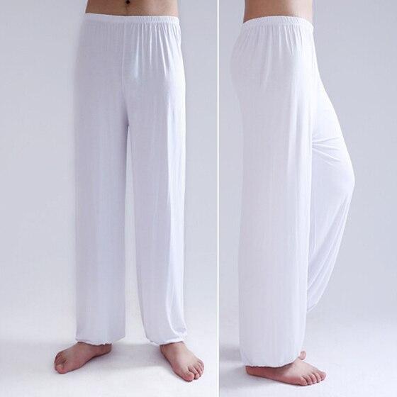 Pantalon blanc, de yoga tai chi, large ample bouffant souple, pour hommes et femmes, vue de face et latérale